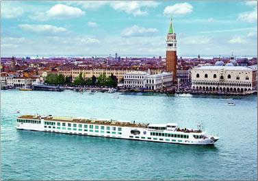 Uniworld's River Countess cruises waters around Venice.