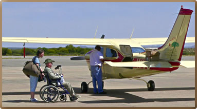 Using small planes for accessible travel between safari destinations in Africa is quick and barrier-free.