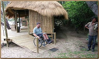 Wheelchair access for safaris at Ngepi Camp, Namibia.