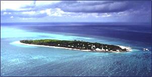 Aerial view of Australia's Heron Island.