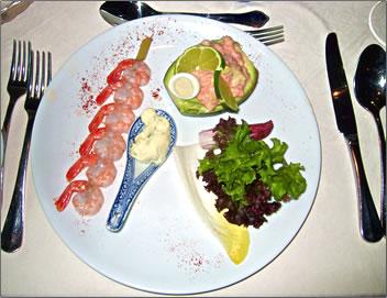 Gourmet cuisine aboard Amadeus Royal river cruise ship.