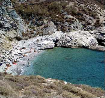 A senior solo traveler discovers the Greek Island of Folegandros on an independent holiday, Ampeli Beach.