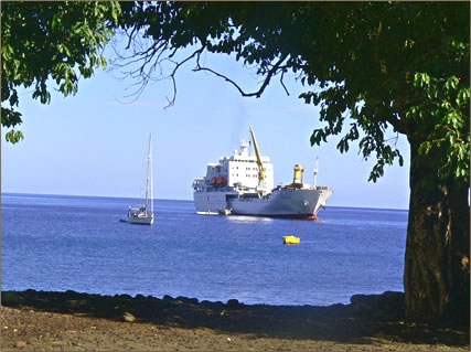 Aranui 3 cargo passenger ship sails the Marquesas Islands, French Polynesia.