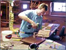 Arizona Inn master carpenter at work.
