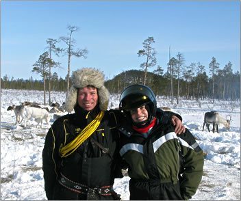 Lapland winter reindeer trave.