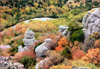 Autumn colors on Meteora's rocky hillsides enrich Greek walking holidays.