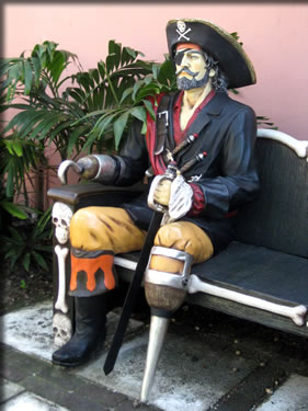 Pirate statue at Graycliff Hotel, Nassau, Bahamas.
