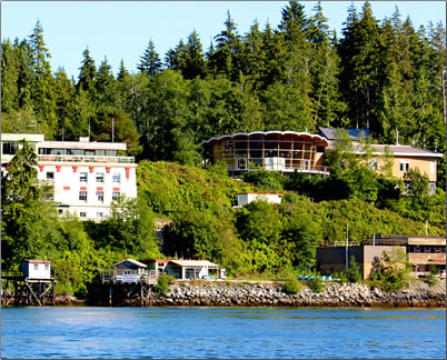 View of the Bamfield Marine Science Centre flanked by the Rix Centre for Ocean Discoveries where the festival unfolds.