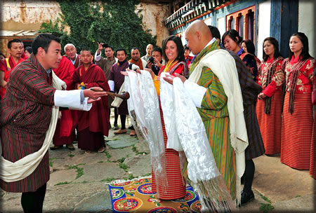 Traditional cultural wedding of an American couple who choose Bhutan to say I Do.