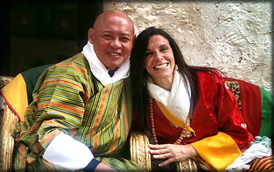 Traditional cultural wedding of an American couple who choose Bhutan to say I Do: Bhutan travel and tourism.