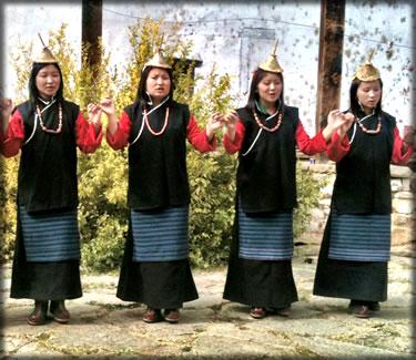 Bhutan traditional women dancers at wedding in Bhutan.