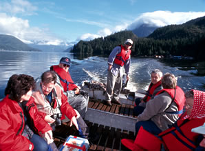 Zodiac outing on tours at Knight Inlet Lodge.