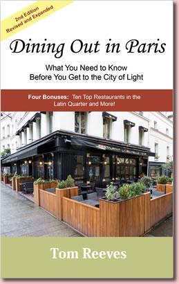 Book cover, Dining Out in Paris by Tom Reeves.