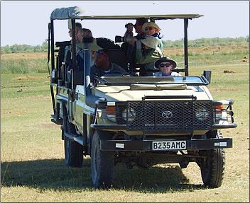 Land cruiser on Sierra Club Outings in Botswana.