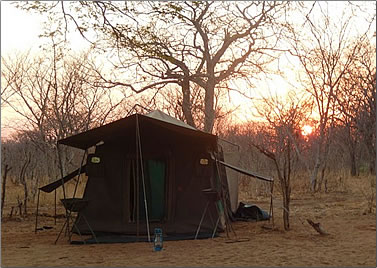 Tent camping in Botswana game reserve.