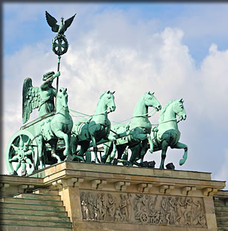 Berlin, Germany's chariot and horses atop the Brandenburg Gate.