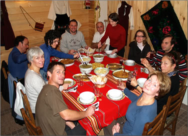 A family-style meal for guests at Deshka House in Bulgaria.