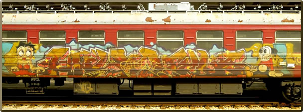 Colorfully decorated Bulgarian train as part of a European train adventure.