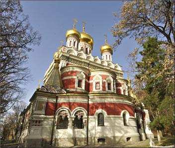 Beautifully decorated Bulgarian Orthodox church in Kazanlak, Bulgaria.