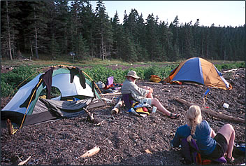 Kayakers' campsite on Pendleton Island, New Brunswick.