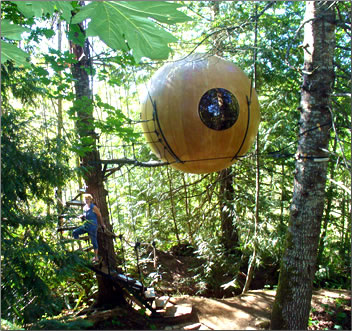 Free Spirit Spheres, Qualicum Beach, British Columbia, accommodation suspended from trees, Adventurous travel accommodation.