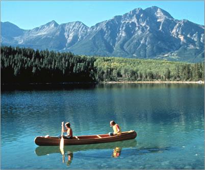 Lake Canoeing, Jasper National Park Canadian Rockies.