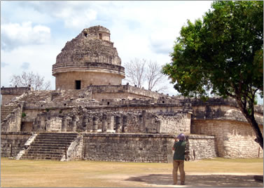 Caracol observatory at Chichen Itza, archaeological vacations Mexico Mayan civilization.