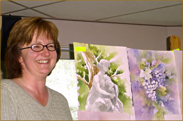 Caren Heine, Canadian watercolor artist offers lessons on board European river cruise ship.