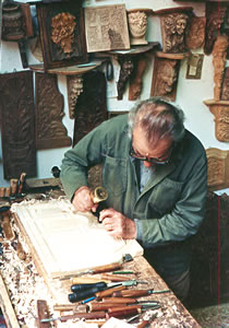 Icon panel carver at work.