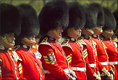 Scots Guards perform Changing of the Guard ceremony at Buckingham Palace.