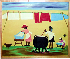 Clementine Hunter folk art captures Louisiana's Deep South Creole heritage.