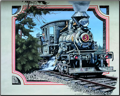 Mural of No. 3 Climax Engine, Chemainus outdoor art gallery, British Columbia.