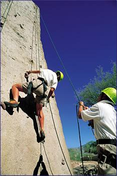 Wall climbing activity at Miraval.
