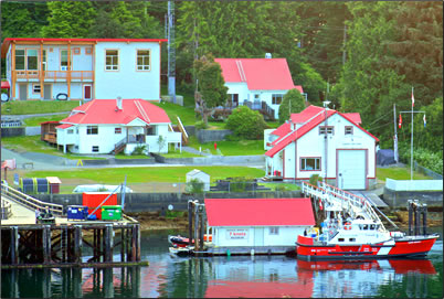 Canadian Coast Guard Search and Rescue Station at Bamfield, British Columbia.