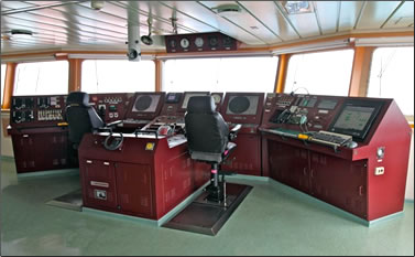 Container ship navigation deck.