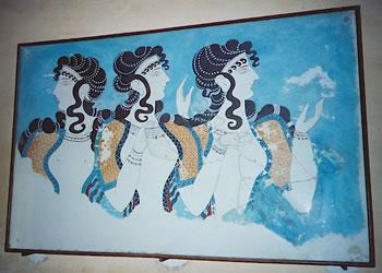 Minoan fresco at Knossos, Crete