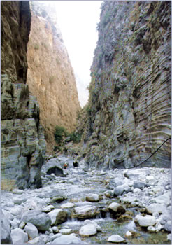 Hiking in Samaria Gorge, Crete, Greek Islands.