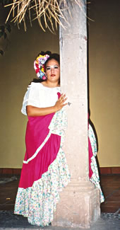 Mexican dancer in Copper Canyon railroad holiday.
