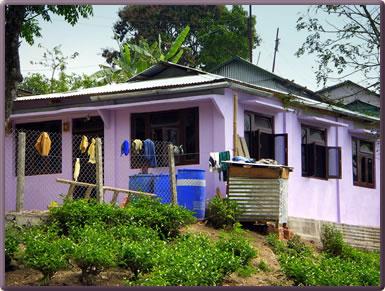 Homestay house on Darjeeling tea estate, India.