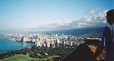 Diamond Head looks at Honolulu, Hawaii