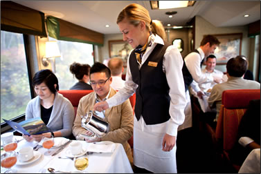 Rocky Mountaineer dining room aboard train.