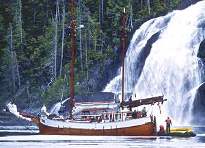 Duen sailing ship near waterfall