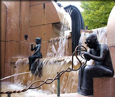 Berlin, Germany, Europa Center Earth fountain.