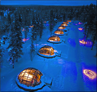 Glass igloos in Lapland, Finland at Arctic Resort.