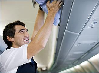 Finnair cabin crew at work.