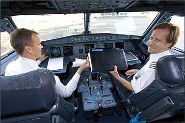 Pilot and First Officer aboard a Finnair plane.