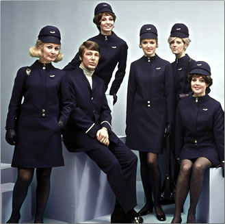Finnair cabin crew uniforms, 1969.