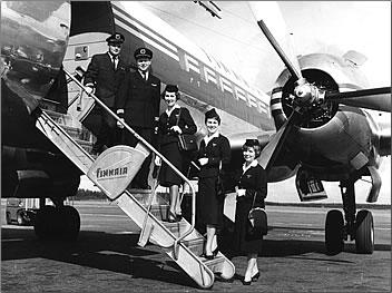 Finnair first international flight from Helsinki to London, 1953.