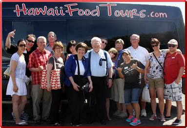 Tour group explores Hawaii's Cultural Cuisine and Multi-Ethnic Food specialties.