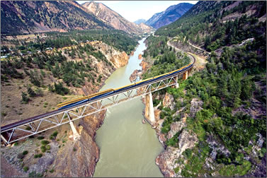 Rocky Mountaineer train crossing the Fraser River.